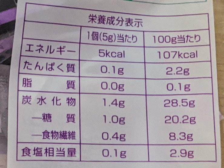 ジャネフ 減塩のり佃煮の栄養成分表示