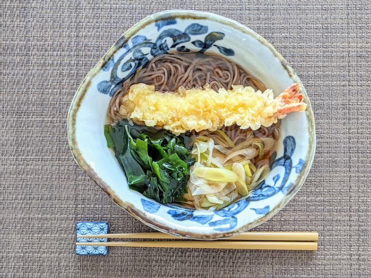 低たんぱく減塩の天ぷらそばの完成