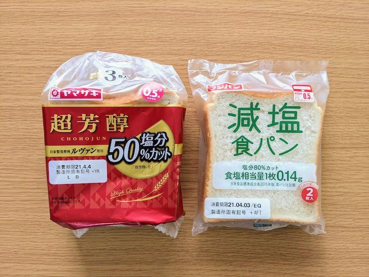 山崎製パンとフジパンの減塩食パン