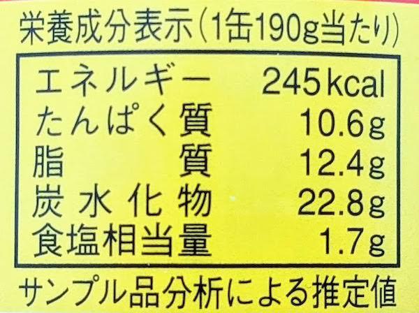 信田缶詰のイワシカレーの栄養成分表示