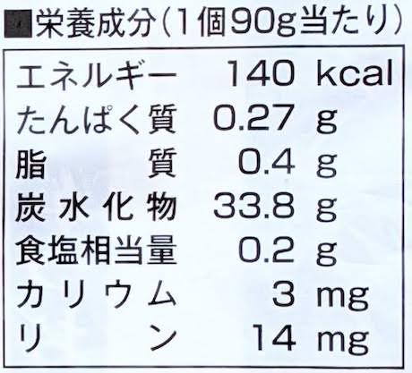 越後のおにぎりの栄養成分表示