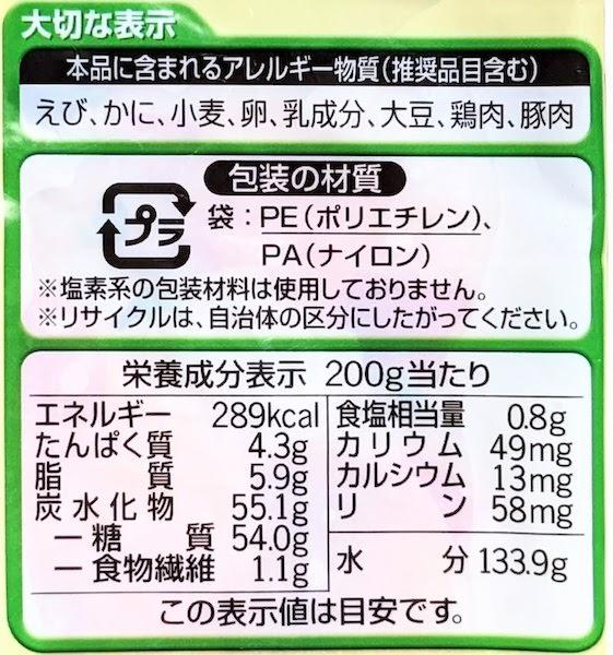 ミールタイムの海老ピラフの栄養成分表示