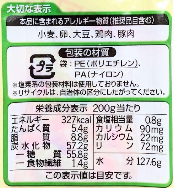 ミールタイムの五目炒飯の栄養成分表示